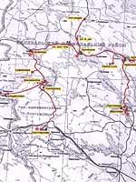 Heinäkuu 2003. Tutkimustretki Kalevalan (Uhtuan) piiriin. Kartta