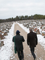 October 29, 2015. President of Finland Sauli Niinistö visit the Monument of the Winter War. Guide is Alpo Rissanen